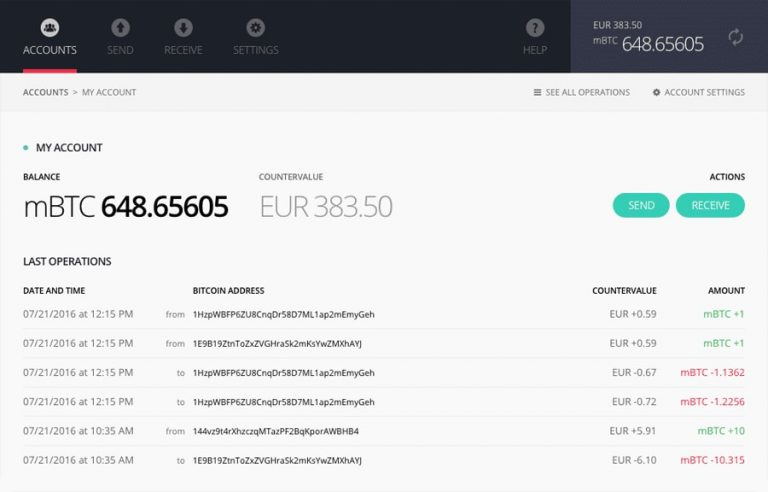 Ledger Nano S hardware wallet interface